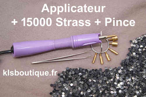 Kit Applicateur a Strass + 15 000 Strass Thermocollant + Pince