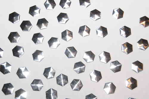 50 Clous Hexagone 7x7mm Argent