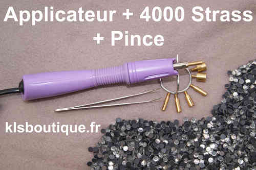 Kit Complet Applicateur Violet + 4000 Strass + Pince