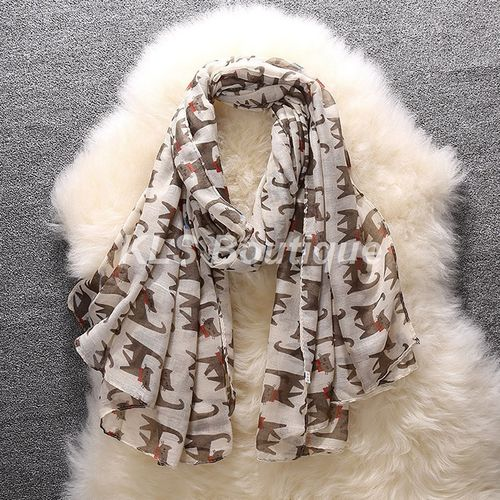 Foulard Ecru Motif Chat Marron