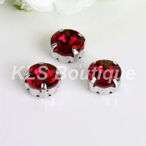 10 Strass à Coudre 10 mm Rouge