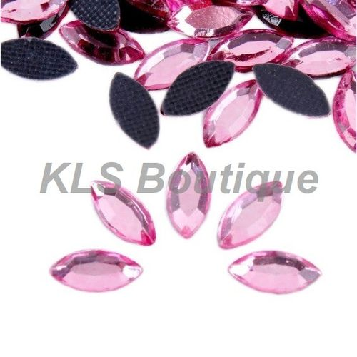 100 Strass Navette 4x8 mm Thermocollant Rose